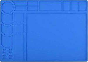 Silicone Solder Mat Soudage Projet Professionnel Mat Résistant À La Chaleur Solder Fer Lötmatte Pad 500 ° C Protection Travail Schweißung Antiskid Bureau Pour Station De Réparation Banc Opérateur Station Pour La Réparation Électronique, Cadeau Pour Techie, 34x24CM Bleu