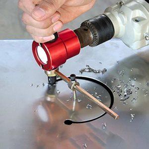 The Original Tôle Cutter | Se fixe à la perceuse standard | Coupe les feuilles plates ou ondulées | Coupe multidirectionnelle | Positionnement à 360 degrés haute précision pour le perçage