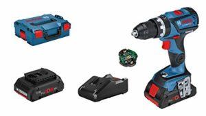 Bosch Professional 18V System perceuse-visseuse à percussion sans-fil GSB 18V-60 C (avec module de connectivité, 2 batteries ProCore de 4,0 Ah, chargeur GAL 18V-40, dans une L-BOXX)
