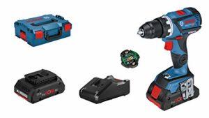 Bosch Professional 18V System perceuse-visseuse sans-fil GSR 18V-60 C (couple maxi 60 Nm, avec module de connectivité, 2 batteries ProCore de 4,0 Ah, chargeur GAL 18V-40, L-BOXX)