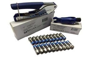 Cabelcon Kit comprenant pince à compression Pocket outil + Cable Stripper + Lot de 20de compression fiches F
