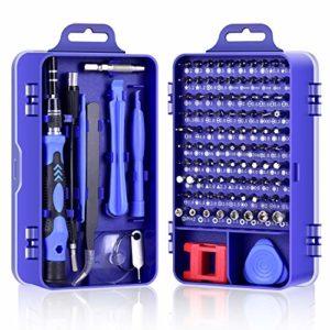DAZAKA Kit Tournevis de Precision 115 en 1 Portable Jeux de Tournevis Outils Pour Réparer Ordinateur/ iPhone/ Lunettes/ Montre (Bleu)