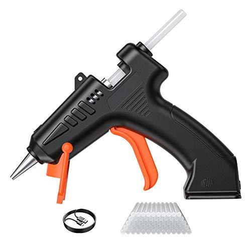 EastMetal Pistolet à Colle Electrique Mini Pistolet à Colle Chaude 4.2V Chargement USB Anti écoulement, pour Réparation, Artisanat, DIY, Maison, Bricolage, Bureau (Noir),60pcs