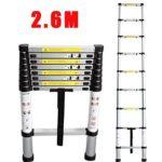 Échelle Télescopique 2.6M en Aluminium Multifonction Echelle Pliante Charge Max 150kg, Normes EN131 (2.6M)