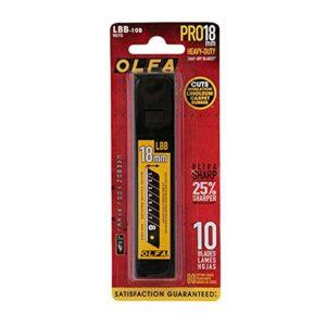– Étui 10 lames acier tungstène noires 18mm «lb10bb» Olfa usage professionnel