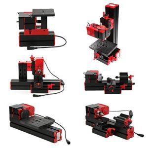 Gecheer Mini bricolage 6 en 1 multifonctionnel transformateur motorisé machine polyvalente scie sauteuse foreur tour en plastique tour à métal tour à bois forage ponçage 240V 60Hz 12V 4A