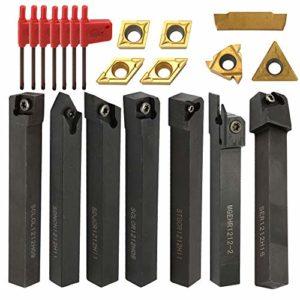 Inserts en carbure, 21PCS Multifonction en Carbure Monobloc Porte-outils Barre d'alésage avec Clés pour Outils de Tournage de Tour, Outils de Tournage