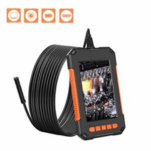 iplusmile Caméra D'endoscope Industrielle 1080P Hd Tuyau Drain Égout Conduit Inspection Caméra Endoscope Serpent Caméra pour Plombier à Domicile (Noir Orange 10 M Fil Dur)