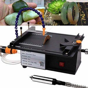 Machine de polissage de bijoux, 1600-3300 tr / min réglable 7 vitesses multifonctionnelle scie à table de polissage de bijoux avec polisseuse de tube de refroidissement par eau pour bois de pin vert