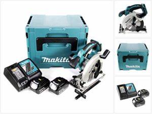 Makita DSS 611 RTJ 18V Li-ion Scie Circulaire sans fil 165mm + Boîtier Makpac + 2x Batteries BL1850 5,0 Ah + Chargeur DC 18 RC