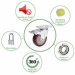 Meditool 4 Puces Roulette Pivotante avec Frein, Lot de 4 Roulettes pour Meubles avec Capacité de Capacité de 400kg, Rouge