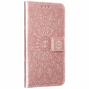 NSSTAR Compatible avec Huawei P40 Pro Coque Housse en Cuir Pochette Portefeuille Étui 3D Mandala Fleur Coque Flip Case Magnétique à Rabat Fentes pour Cartes avec Support,Rose Gold