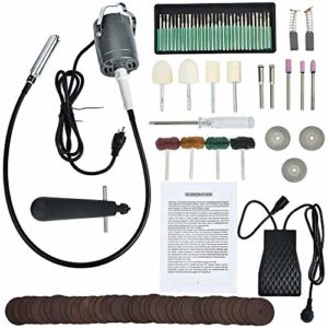 PLEASUR Rectifieuse électrique Suspendue 24000tr / Min 300W Polisseuse Suspendue pour broyeur à Arbres Flexibles, rectifieuse électrique, Outils Multifonctions, pédale de Commande (avec Accessoires)