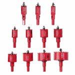 Proster Lot de 11 forets à ressort central en acier inoxydable HSS 15 à 50 mm