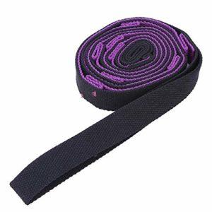 T best Corde de Ceinture Extensible de 2 m, Sangle Extensible de Yoga Augmentant la flexibilité des Bandes de Formation des Jambes pour l'exercice(Violet + Noir)