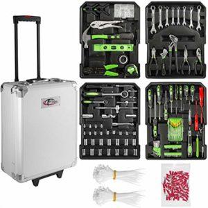 TecTake 402717 Valise à outils trolley 699 pièces, boite à tire en aluminium | Poignée télescopique | Coins renforcés en acier