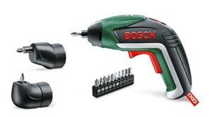 Tournevis sans fil avec batterie lithium-ion 3,6 V intégré et adaptateur à angle droit/facilement accessible. Marque : Bosch IXO.