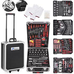 TRESKO Boite à Outils 949 pièces en Chrome Vanadium | avec mallette en aluminium et poignée télescopique (Noir – 949 pièces)