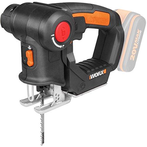 Worx wx550.920V Batterie Scie sauteuse Scie sabre Axis, tête pivotante, vitesse 3000tr/min, 1pièce, Power Share Appareil de base, sans batterie, chargeur et accessoires Noir/orange