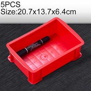 Zhaodong Papeterie 5 PCS Boîte à matériaux multifonctions épais Tout neuf Boîte à outils en plastique for boîte à outils en plastique, taille: 207 mm x 137 mm x 64 mm (bleu) Zhaodong (Color : Red)