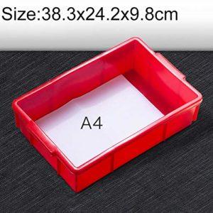 Zhaodong Papeterie – Boîtier en matériau multifonctionnel épais – Boîte à outils tout en plastique plat – Pièces neuves en plastique plat Zhaodong (Color : Red)