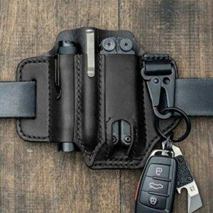 CJJCJJ Multitool Leather Sheath Pocket Organizer – Cuir de haute qualité (noir)