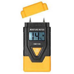 Fesjoy Humidomètre LCD numérique en bois pour matériaux de construction en bois avec mesure de température ambiante