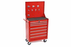 HBM Chariot à outils à 7 tiroirs avec panneau d'outils et 8 crochets – Rouge
