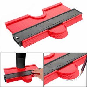 Jauge de Contour Copieur de Contour Verrouillable Instrument Outil de Marquage Jauge de Profil pour Mesure de Carrelage en Plastique Outil de Marquage du Bois Stratifié (25cm Rouge Élargir)