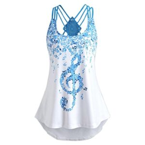 Robe Femme,Beikoard Ladies' Bandages Sleeveless Vest Top Musical Notes Print Strappy Tank Tops (M, blanc)