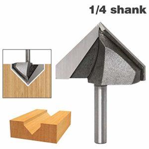Router Bit Shank 1pc 1/4″ Shank 90 degrés V Groove Lettrage V-Groove V rainurage Toupie 1-3/4″ x 30 mm Fraisage peu de coupe
