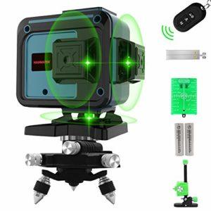 Niveau Laser Croix, HANMATEK LV12D Laser Horizontal et Verticale Vert,3 * 360 Ligne Laser Auto-nivellement avec Mode Pulsé Extérieur