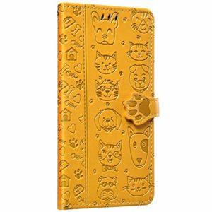 NSSTAR Compatible avec Samsung Galaxy A7 2018 Housse en Cuir Portefeuille Pochette Coque à Rabat Chat Chien Motif Flip Case Antichoc Coque Magnétique Clapet PU Cuir Housse Livre Étui,Jaune