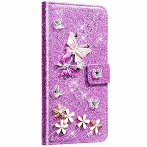 Saceebe Compatible avec Xiaomi Redmi Note 7 Coque Cuir Portefeuille Housse Glitter Brillante Diamant Papillon Fleur Motif Flip Case Wallet Coque Rabat Support Stand Housse Magnetique,Violet